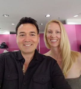 Lance Lanza with client at his hair salon in Los Angekes