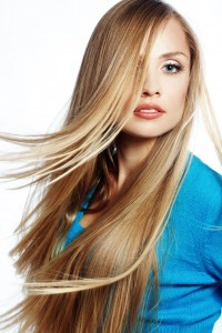 light blond baby lights straight flat iron style mid back length