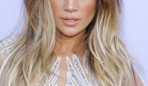 Jennifer lopez Balayage Hair color. long hairstyle long square angle bangs.
