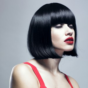 blue black angular bob haircut bangs